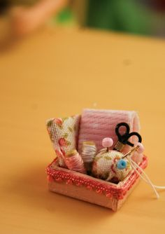 """Sewing Box - I know it's for a doll's house but I'd like to make something like this to use as my own """"needlekeep""""."""