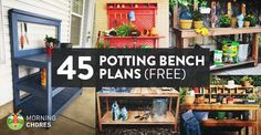 If you spend a long time planting flowers, herbs, and potted vegetables to fill your back and front porch, having a potting bench will make your job easier: