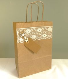 Wedding gift bag brown paper bag burlap and lace by FluffyDuck