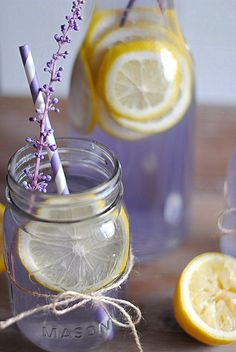 Perhaps with a lemonade vodka for your signature cocktail. Lavender Lemonade recipe 2 cups water cup sugar cup agave nectar (or honey) 3 Tbsp dried lavender 2 cups freshly squeezed lemon juice 4 cups water 1 lemon, sliced (for garnish) Refreshing Drinks, Summer Drinks, Fun Drinks, Healthy Drinks, Beverages, Summertime Drinks, Cocktails, Non Alcoholic Drinks, Cocktail Recipes