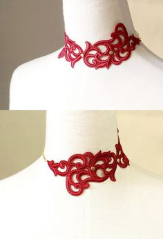 red lace choker necklace  gothic choker  vintage by LaceFancy