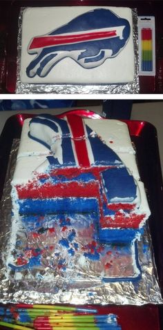 Buffalo Bills Cake! If the Bills make it to the super bowl I'll make this. As much as I love them, I don't think I'll be making it anytime soon. :/