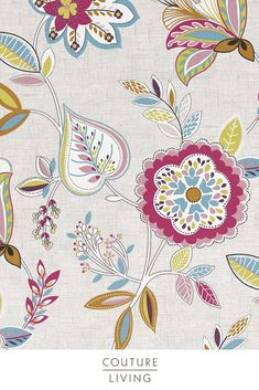 Studio G - Octavia Collection from Couture Living, available in Floral theme fabric in Pink, this fabric is suitable for Blackout Curtains or Blackout Blinds available in Summer Fabric Blinds, Curtains With Blinds, Curtain Fabric, Valances, Floral Curtains, Floral Fabric, Orange Kitchen Blinds, Clarke And Clarke Fabric, Made To Measure Curtains