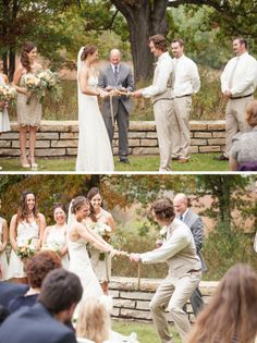 Literally tying the knot.  What a fun activity during the ceremony! #weddings