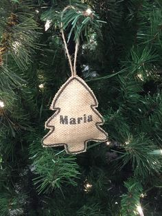 Christmas Tree Ornament Stocking Burlap Brown Personalized Name Rustic Country Theme •Made to Order•  by TatyanasTrimRibbon on Etsy https://www.etsy.com/listing/213242711/christmas-tree-ornament-stocking-burlap