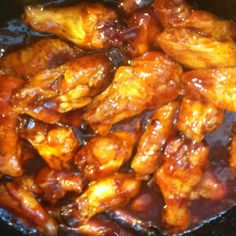 Honey BBQ #slow_cooker #chicken_wings!  3 lbs chicken wings - Cut off and discard wing tips then cut each wing at the joint to make two sections. Sprinkle wing pieces with salt and pepper; place wings on a lightly oiled sheet pan. Bake at 400 degrees for 30 minutes. Transfer chicken wings to crockpot.  In a bowl, combine 1-1/2 c barbecue sauce, 1/4 c honey, 2 tsp prepared mustard, and 2 tsp Worcestershire sauce. Pour sauce over chicken wings and toss. Cover and cook on LOW for 4 to 5 hours…