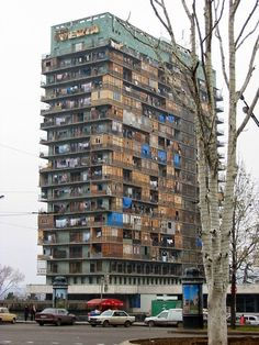 Hotel Iveria, Georgia - Built in 1967, it was Georgia's finest...Then in the early 1990s, soon after the collapse and subsequent breakup of the USSR, civil war broke out in Georgia. Tbilisi was flooded with...more than 200,000 refugees...Many buildings in Tbilisi...were reallocated for housing the displaced. A thousand of them wound up in the hotel's 22 floors where they would remain for the next ten years. It was emptied and renovated into a hotel in 2009.
