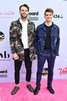 Cool BBMA style? It looks something just like this. The Chainsmokers dressed down in camo and denim, but with skinny tailored pants and coiffed hair, they still looked event-appropriate. via @AOL_Lifestyle Read more: https://www.aol.com/article/entertainment/2017/05/21/best-dressed-billboard-music-awards-2017-celine-dion/22102539/?a_dgi=aolshare_pinterest#fullscreen