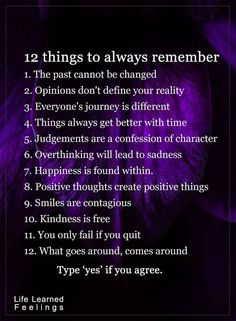 12 things to always remember...