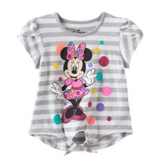 Disney's+Minnie+Mouse+Toddler+Girl+Striped+Faux+Tie+Front+Tee