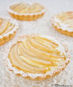 Creamy, juicy and crumbly....pear and custard tarts
