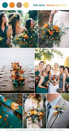 teal and orange fall rustic wedding colors