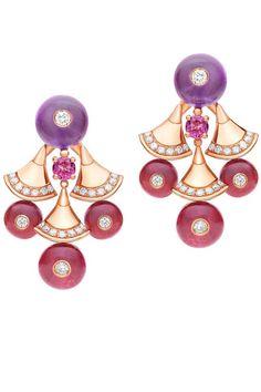 Amethyst, rubellite, diamond and yellow gold earrings from the Bulgari Bvlgari Diva collection