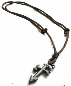 Vintage Cross Adjustable Leather Necklace Tropicari. $8.50. Perfect gift for any man or woman. Genuine Leather. Comes with complementary free gift box. Adjustable from 14 inches to 28 inches long by sliding cord. High Quality Lead & Nickel Free Metal Pendant