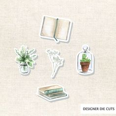 Flowers and Books Die Cut Set 005 by Sticker Organization, Student Planner Printable, J. R. R. Tolkien, Letting Go Of Him, Planner Stickers, Journal Stickers, Rustic Flowers, Crafty Projects, Sell On Etsy