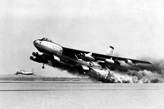 Boeing B-47E-65-BW (S/N 51-5257, the last boeing-built block 65 -E model) during rocket-assisted take off test, being chased by a Lockheed F-80. (U.S. Air Force photo)