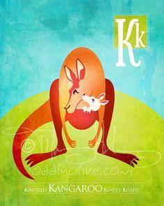 K is for Kangaroo  Nursery Animal Alphabet Art 8 x by oddlyolive