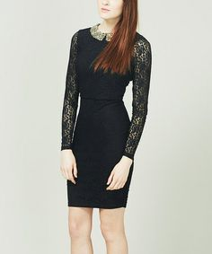 Look at this #zulilyfind! Black & Gold Lexi Dress #zulilyfinds