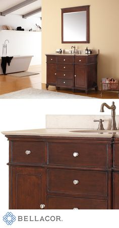 The Windsor 48-Inch vanity in walnut is a beautiful transitional design with classic lines.