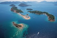 The famous Twelve Islands in Fethiye Bay, part of the Turquoise Coast in Turkey