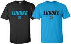 """Luuuke"" T-Shirt Sz Luke Kuechly Carolina Panthers Football Super Bowl Carolina Panthers Football, 2 Colours, Hoodies, Sweatshirts, Size Chart, Custom Design, Trending Outfits, Long Sleeve, Mens Tops"