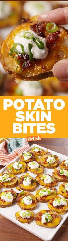 Potato Skin BitesDelish #appetizer #easy #recipe Potato Skins Appetizer, Potato Appetizers, Potato Snacks, Potato Spuds, Easy Potato Skins Recipe, Potato Food, Warm Appetizers, Loaded Potato Skins, Appetizer Dinner