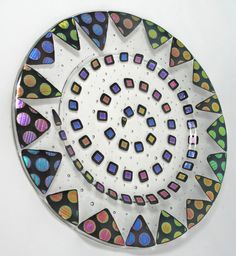 Fused Glass Plate  Colorful Dichroic Dots by AlteredElementsGlass, $175.00