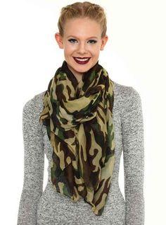 Chiffon Camouflage Print Scarf,Dark Green Chiffon Scarf for girls , Camouflage Print Scarf in 2013 Fall/Winter.