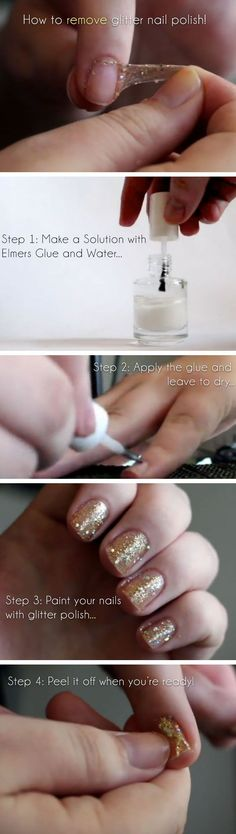 How to Remove Glitter Nail Polish Really Easily | Click Pic for 25 Simple Life Hacks Every Girl Should Know | DIY Beauty Hacks Every Girl Should Know DIY beauty #diy