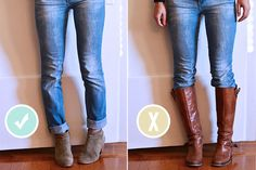 """""""Wearing knee vs. high boots verses ankle boots.  When wearing looser fitting jeans, wear ankle boots to avoid the bunchy area around the knees.  Save your knee highs for your very fitted skinny jeans"""" -Courtney Schlup R.N."""