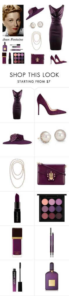 """""""Joan Fontaine - Screen Legend (contest entry)"""" by scolab ❤ liked on Polyvore featuring Talbot Runhof, Gianvito Rossi, Blue Nile, Dolce&Gabbana, Smashbox, MAC Cosmetics, Tom Ford, By Terry and Charlotte Russe"""