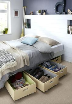 20 Fantastic Bedroom Organization Ideas For A Clean And Tidy Room, Small Bedroom, Small Bedroom Storage, Under Bed Storage, Storage Room, Storage Spaces, Storage Drawers, Extra Storage, Hidden Storage, Underbed Storage Ideas, Bedroom Storage Solutions