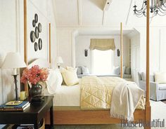 Designed by Susan Tully, this master bedroom's cherrywood pencil-post bed and sober millwork pay homage to the Shakers.