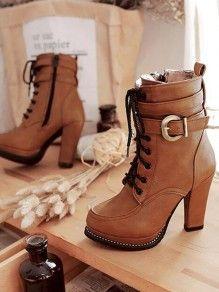 e070b6a00b145c Braun Runde Zehe Schnürung Reißverschluss Fesselriemen Blockabsatz  Stiefeletten Damen Boots