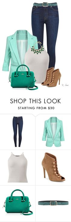 """Sunday Night"" by ksims-1 ❤ liked on Polyvore featuring 7 For All Mankind, Gianvito Rossi, Kate Spade, Orciani and Elizabeth Cole"