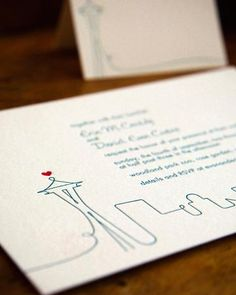 A darling invitation for a seattle wedding. Simple and sweet.