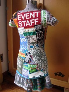 Phyllis Criddle's MASS MoCA dress, made from past event t-shirts.