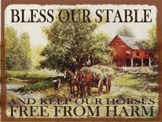 Bless-Our-Stable-Metal-Sign-Vintage-Farm-Horse-and-Hay-Wagon-Country-Decor