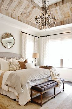 Wall paint color is Greek Villa from Sherwin Williams. Bedroom ceiling is reclaimed barnwood.