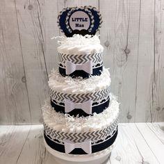 Navy and Gray Little Man Diaper Cake Centerpiece