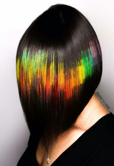 Pixel rainbow dyed pixelated hair color @phildoeshair