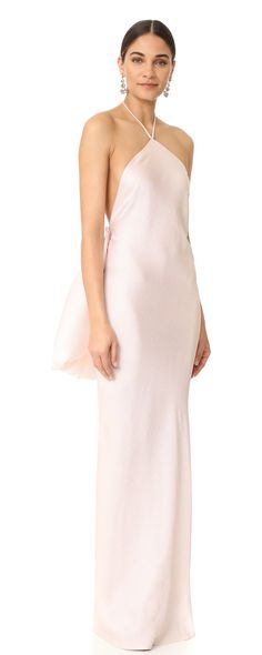 halter gown by Brandon Maxwell. An optional, pleated silk overlay brings striking volume to this lightly textured Brandon Maxwell gown. Tie closures ...