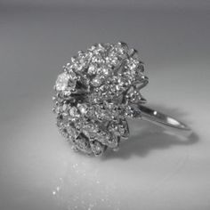 Mid Century Diamond Cocktail Ring – Over 3 Carats of Diamond Vintage Diamond, Vintage Rings, Unique Vintage, Vintage Jewelry, Diamond Rings, Diamond Engagement Rings, 3 Carat, Cocktail Rings, Cocktails