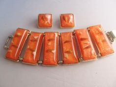 Vintage Mid Century Thermo Plastic with Glitter and Sea Shells Bracelet and Earrings Set