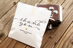 Wedding Favor Bags  - Vintage Thank You Script by mavora. Wax lined bags are best for baked goods. www.mavora.com