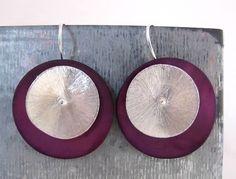 bridesmaid jewelry. minimalist sterling silver earrings. SINGLE EARRINGS purple. $27.00, via Etsy. #spanishcraft