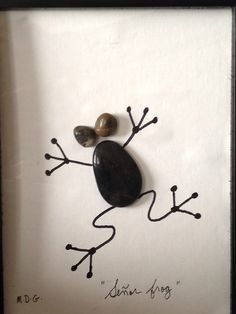 "Pebble art ""Señor frog"" by Denise Gray"