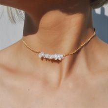 Chic Multicolor Opal Stone Choker Necklaces Fashion Gold Color Chain Crystal Necklace for Women Jewelry Short Chockers Collar(China)