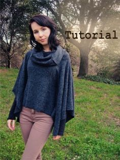 Cowl Neck Poncho (easy sewing project). Please visit us at http://pinterest.com/hersolution/