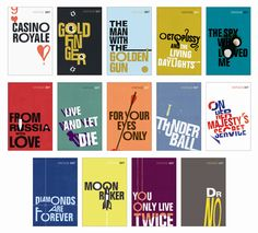 14 new cover designs for James Bond books....<3 typography!